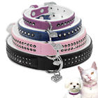 Leather Bling Rhinestone Pet Dog Collars With Heart Pendant Pink Blue XS S M L