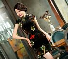 black fashion chinese women's Velvet evening Dress Ball Cheongsam 6.8.10.12.14
