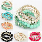 Fine New Jewelry Candy Color Pearl Rose Flower Multilayer Charm Bracelet Set MO