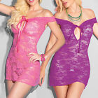 Pink Purple Off Shoulder Stretch Lace Intimate Babydoll Chemise Lingerie 2278 SM