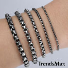 2/3/4/5/6mm Mens Chain Round Box  Silver Tone Stainless Steel Bracelet 7-11''NEW