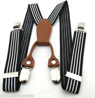 """Toddler Black / White Striped 1"""" Wide Suspenders Ages 2 - 6 Years - 2T 3T 4T"""