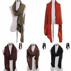Scarf Wrap Knit Oversized Plain Solid Color Soft Trim Shawl Chic Cute Versatile