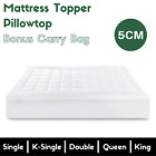 Luxury Pillowtop Mattress Topper Memory Protector Cover Underlay Fibre All SIZES