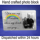 """Personalised 6x4"""" plaque with photo rainbow love quote unique gift"""
