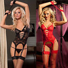 US Sexy Women Lingere Lace Dress Sleepwear Nightwear G-string+Handcuff  Set