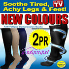2 Pair Compression MIRACLE SOCKS in Black, White, Navy, Beige Flight, Travel