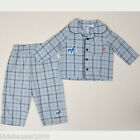 BNWT Bunnykins by Royal Doulton Blue Check Flannel Pajama Sets/PJS Sz 0/1/2