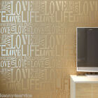 Love Letter Words Textured Modern Wallpaper Roll Flock Embossed Nonwoven