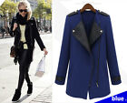 Fashion Women Girl Synthetic leather Joining together Inclined zip Coat Jacket