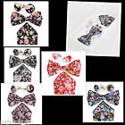 Cotton Italy Floral Design Bow Tie, Pocket Square Hanky And Cuff link Gift Set 1