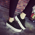 Women's Korean Low Top Shoes Lace Up Breathable Casual Canvas Sneakers Low Flats