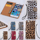 Leopard Print Diamond Bling Flip Wallet Leather Case For Samsung iPhone 4/5/6/6P