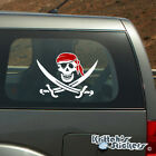 Jolly Roger Pirate Skull with Red Bandana Vinyl Decal - fits cars + more K599