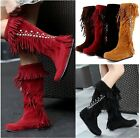 Women Rhinestone Mid Calf Knee High Boots Fringe Tassels Tribal Moccasin Boots