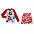 """Disney Boys 2 Piece """"Surf's Up"""" Red/White Long Sleeve Mickey Graph - Toddler"""