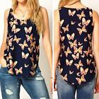 1X Women's Butterfly Print Sleeveless Casual Chiffon Blouse T-Shirt Tank Top NEW
