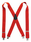 """Classic Red 2"""" Work Suspenders Heavy Duty Construction Clips Choose Your Size"""