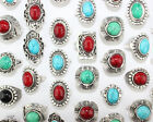 Wholesale Lots Women Men Tibet Silver Plated Turquoise Fashion Rings Size 6-10