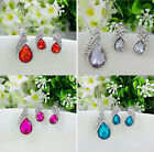 Silver Crystal Necklace Pendant Stud Earrings Bridal Wedding Jewellery Set Ps008