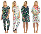 Ladies Summer Pyjamas or Nightshirt Cuffed Navy Blue White Bird Floral Tropical
