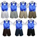 4pc Set Boy Toddler Formal Royal Blue Vest and Bow tie White Khaki Shorts S-4T