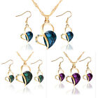 New Heart Woman Jewelry Set Necklace Crystal Earring For Wedding Party MO