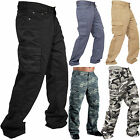 Mens Work Trousers Cargo Combat Jeans Pants Army Plain Camouflage Heavy Duty