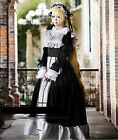 NEW Black/White Gothic Victorian Satin Ruffled Long Lolita Dress Cosplay Costume