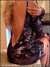 Celebrity Towie Bandage Backless Bodycon Open Low Back Cut Out Sequin Dress 8,10