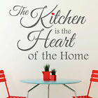 The Kitchen is the Heart of the Home Quote Red Heart Vinyl Wall Sticker Decal