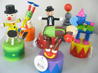 SQUEAKY CIRCUS PUSH PUPPET LARGE COLOURFUL WOODEN CHARACTER ON PVC PUSH BASE