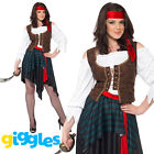 Pirate Wench Costume Womens Ladies Shipmate Captain Halloween Fancy Dress Outfit