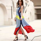 New Womens Split Patchwork Long Dress Sleeveless Summer Party Beach Dress