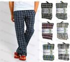 Mens Check Woven Lounge Pants Pyjama Bottoms Cotton Blend Pj's Pyjamas Sleepwear