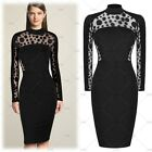 Women's Elegant Cocktail Evening Party Polka Dot Lace Sexy Bodycon Pencil Dress