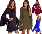 Hobo Swing Solid Loose Fit Long Sleeve Flared Bell Sleeve Top Tunic Mini Dress