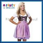Womens Traditional German Purple Dirndl Oktoberfest Dress Costume