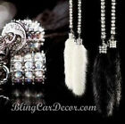 Crystal & Faux Fur Rearview Mirror Charm, Hanging Rhinestone Bling Car Accessory