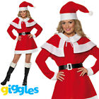 Miss Santa Costume Womens Mrs Claus Father Christmas Xmas Fancy Dress Outfit New
