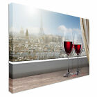 Paris and Eiffel two wine glasses Canvas Wall Art prints high quality