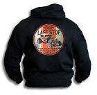 Last Stop V8 Hot Rod Roadster Motor Body Repairs Mens Black Hoodie Sm - 2XL Rear