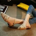 Women PU Leather All-Match Comfy Sandals Low-Heels Toe Cover Irregular Shoes