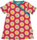 Maxomorra Dress Wrapover SS Daisy Coral