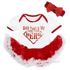 Father's Day Baby Sparkle Dad You're My Hero White Red Bodysuit Tutu