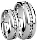 His And Hers 6mm/8mm Created Diamonds Titanium Wedding Engagement Ring Set