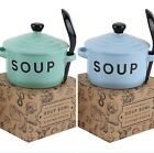 Assorted Retro Ceramic Soup Bowls with Lid & Spoon Pastel Blue Green Boxed