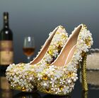 Womens Platform Evening Rhinestone Wedding Bling Bling Shoes High Heels US4-10.5