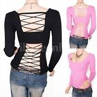 Stunning Knit Cross Straps Backless Long Sleeves Clubwear Blouse Top