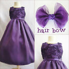 Adorable Purple Lapis bridal flower girl party dress FREE HAIR BOW all sizes